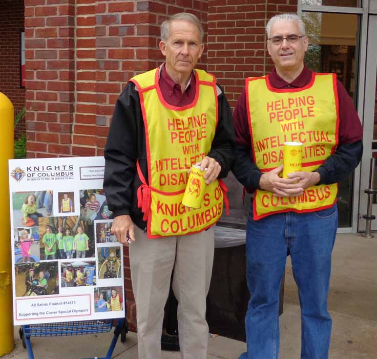 Two Knight of Columbus Concducting Tootsie Roll Donation Collection
